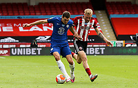 Chelsea's Andreas Christensen shields the ball from Sheffield United's Oliver McBurnie <br /> <br /> Photographer Alex Dodd/CameraSport<br /> <br /> The Premier League - Sheffield United v Chelsea - Saturday 11th July 2020 - Bramall Lane - Sheffield<br /> <br /> World Copyright © 2020 CameraSport. All rights reserved. 43 Linden Ave. Countesthorpe. Leicester. England. LE8 5PG - Tel: +44 (0) 116 277 4147 - admin@camerasport.com - www.camerasport.com