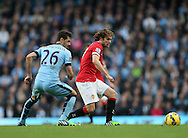 Manchester City's Martin Demichelis tussles with Manchester United's Daley Blind<br /> <br /> - Barclays Premier League - Manchester City vs Manchester Utd - Etihad Stadium - Manchester - England - 2nd November 2014  - Picture David Klein/Sportimage