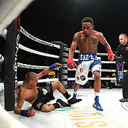 DAYTONA BEACH, FL - SEPTEMBER 11: Abdiel Velazquez slips to the mat after a punch by Reggie Barnett during the Bare Knuckle Fighting Championships at the Ocean Center on September 11, 2020 in Daytona Beach, Florida. (Photo by Alex Menendez/Getty Images) *** Local Caption *** Abdiel Velazquez; Reggie Barnett
