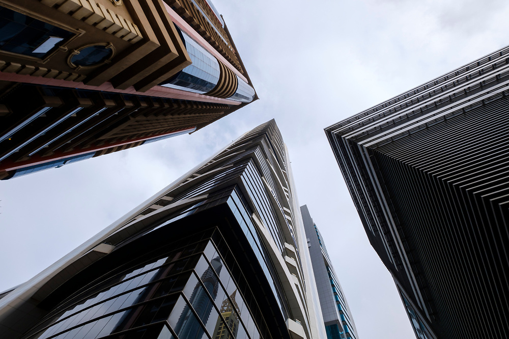 UNITED ARAB EMIRATES, DUBAI - CIRCA JANUARY 2017: Skyscrapers at Sheikh Zayed Road in Dubai. This is the main artery of the city and is home for most of the Dubai skyscrapers.