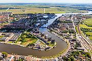 Nederland, Noord-Holland, Zaanstad, 14-06-2012; rivier de Zaan, ter hoogte van Wormerveer. Links de Veerdijk..Zaanstad and its river Zaan..luchtfoto (toeslag), aerial photo (additional fee required).foto/photo Siebe Swart