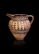 Minoan decorated ewer jug  from the  Knossos-Little Palace 1600-1450 BC, Heraklion Archaeological  Museum, black background. .<br /> <br /> If you prefer to buy from our ALAMY PHOTO LIBRARY  Collection visit : https://www.alamy.com/portfolio/paul-williams-funkystock/minoan-art-artefacts.html . Type -   Heraklion   - into the LOWER SEARCH WITHIN GALLERY box. Refine search by adding background colour, place, museum etc<br /> <br /> Visit our MINOAN ART PHOTO COLLECTIONS for more photos to download  as wall art prints https://funkystock.photoshelter.com/gallery-collection/Ancient-Minoans-Art-Artefacts-Antiquities-Historic-Places-Pictures-Images-of/C0000ricT2SU_M9w