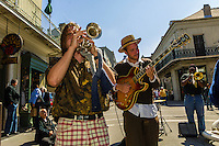 Street musicians performing,  French Quarter Festival, French Quarter, New Orleans, Louisiana, USA