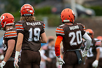 KELOWNA, BC - SEPTEMBER 8:  Cole Stregger #19 and Tyler Going #20 of Okanagan Sun stand on the field against the Langley Ramsat the Apple Bowl on September 8, 2019 in Kelowna, Canada. (Photo by Marissa Baecker/Shoot the Breeze)