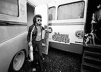 French singer and actor  Johnny Halladay, real name Jean-Philippe Smet .Photographed by Terry Fincher in June 1972 near Paris, France during his 'Johnny Halladay Circus Tour.