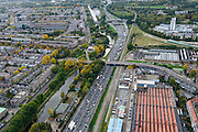 Nederland, Zuid-Holland, Rotterdam, 23-10-2013; Ruit van Rotterdam, A20, ter hoogte van Hillegersberg.<br /> North Rotterdam. residential area and mototway A20.<br /> luchtfoto (toeslag op standaard tarieven);<br /> aerial photo (additional fee required);<br /> copyright foto/photo Siebe Swart.