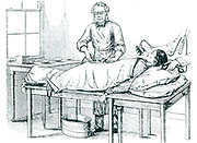 Thomas Spencer Wells (1818-1897) British gynaecolotist who perfected ovariotomy, performing an operation on a patient anaesthetised by chloroform, c1870.