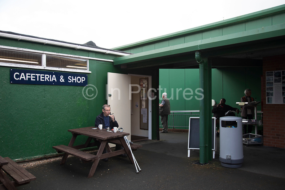 Open day at Wythall Transport Museum cafetreria and shop on May 1st 2017 in Wythall, England, United Kingdom. The Transport Museum, Wythall is a transport museum just outside Birmingham, at Wythall, Worcestershire.The museum is run by the charity The Birmingham and Midland Motor Omnibus Trust BaMMOT. The museum has three halls, presenting a significant collection of preserved buses and coaches, including Midland Red and Birmingham City Transport vehicles. It is also home to the Elmdon Model Engineering Society EMES who operate the Wythall miniature railway within the grounds of the transport museum, giving rides to public on miniature steam trains.