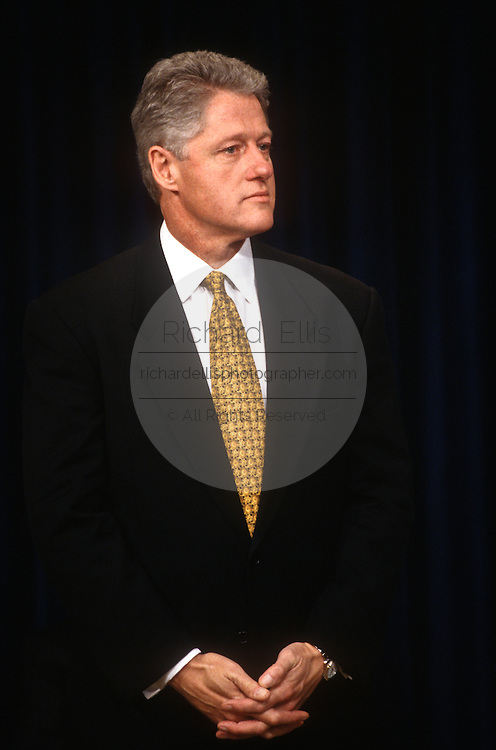 US President Bill Clinton during during the release of the 1998 Federal Budget February 6, 1997 in Washington, DC. Clinton unveiled his 1.69 trillion USD budget which he says will balance the budget by the year 2002.