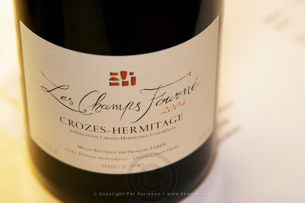 Bottle of Les Champs Fourne 200f  from Francois Tardy. Detail of label.