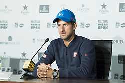 May 11, 2017 - Madrid, Spain - Press conference of Novak Djokovic aduring day six of the Mutua Madrid Open tennis at La Caja Magica on May 11, 2017 in Madrid, Spain. (Credit Image: © Oscar Gonzalez/NurPhoto via ZUMA Press)