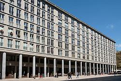 Upmarket apartment block and square with shopping and restaurants at Walter-Benjamin Platz in Charlottenburg Berlin Germany