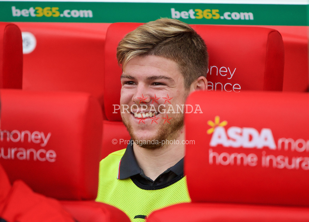 STOKE-ON-TRENT, ENGLAND - Sunday, August 9, 2015: Liverpool's substitute Alberto Moreno before the Premier League match against Stoke City at the Britannia Stadium. (Pic by David Rawcliffe/Propaganda)