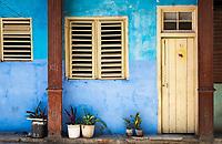 HAVANA, CUBA - CIRCA MAY 2016: Colorful house facade in Centro Havana, Cuba.