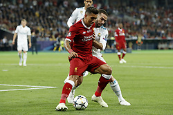 (L-R) Roberto Firmino of Liverpool FC, Daniel Carvajal of Real Madrid during the UEFA Champions League final between Real Madrid and Liverpool on May 26, 2018 at NSC Olimpiyskiy Stadium in Kyiv, Ukraine