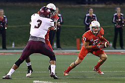 15 October 2016:  Spencer Schnell zags a bit to find a way forward. NCAA FCS Football game between Southern Illinois Salukis and Illinois State Redbirds at Hancock Stadium in Normal IL (Photo by Alan Look)