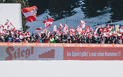 15.02.2020, Kulm, Bad Mitterndorf, AUT, FIS Ski Flug Weltcup, Kulm, Herren, im Bild Fans und Zuschauer mit Fahnen // Fans and spectators with flags during his Jump for the men's FIS Ski Flying World Cup at the Kulm in Bad Mitterndorf, Austria on 2020/02/15. EXPA Pictures © 2020, PhotoCredit: EXPA/ JFK