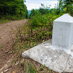 A border marker on the border swath between Easton, Maine and Bath, New Brunswick. Part of the International Appalachian Trail.