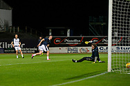 06/10/2020: Dundee FC train at Kilmac Stadium after their Betfred Cup match against Forfar Athletic was postponed due to a positive COVID test result for one of the Forfar players: Danny Mullen of Dundee scores in a practice game<br /> <br /> <br />  :©David Young: davidyoungphoto@gmail.com: www.davidyoungphoto.co.uk