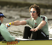 Putney, London, ENGLAND, 29.03.2006, Cambridge stroke Kip McDaniel goes throug the motions of a trainiing exercise as Cambridge train on the River Thames in preperation for Sundays Boat Race 2nd April, Varsity, Tideway Week, Wednesday,   Stroke Kip McDaniel, cox Peter Rudge.[Mandatory Credit Peter Spurrier/ Intersport Images] Varsity, Boat race. Rowing Course: River Thames, Championship course, Putney to Mortlake 4.25 Miles