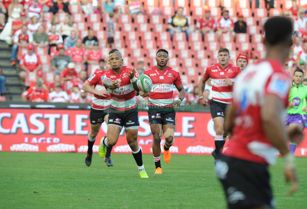 Elton Jantjies starts a move during the first half after the Lions scored 3 tries in the first half. Lions vs Blues during a Super Rugby match at the Emirates Airlines Park Stadium, Ellis Park, Johannesburg, South Africa. Picture: Karen Sandison/African News Agency (ANA)