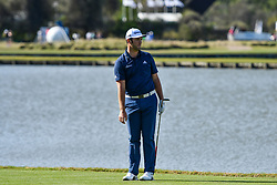 March 21, 2018 - Austin, TX, U.S. - AUSTIN, TX - MARCH 21: Jon Rahm watches his chip shot during the First Round of the WGC-Dell Technologies Match Play on March 21, 2018 at Austin Country Club in Austin, TX. (Photo by Daniel Dunn/Icon Sportswire) (Credit Image: © Daniel Dunn/Icon SMI via ZUMA Press)