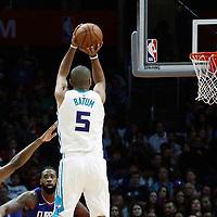 31 December 2017: Charlotte Hornets guard Nicolas Batum (5) takes a jump shot during the LA Clippers 106-98 victory over the Charlotte Hornets, at the Staples Center, Los Angeles, California, USA.