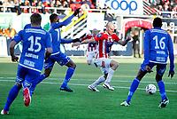 Fotball<br /> Tippeliga 2013<br /> Tromsø IL - Haugesund ( 2 - 1 )<br /> 28.04.2013<br /> <br /> Zdenek Ondrasek, Tromsø<br /> Ugonna Anyora, Haugesund<br /> Martin Bjørnbak, Haugesund<br /> Umaru Bangura, Haugesund<br /> <br /> Foto: Tom Benjaminsen, Digitalsport