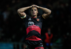 Dragons' Ashton Hewitt<br /> <br /> Photographer Simon King/Replay Images<br /> <br /> Guinness Pro14 Round 10 - Dragons v Ulster - Friday 1st December 2017 - Rodney Parade - Newport<br /> <br /> World Copyright © 2017 Replay Images. All rights reserved. info@replayimages.co.uk - www.replayimages.co.uk