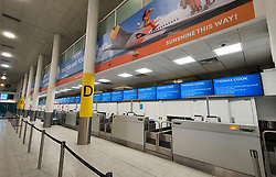 © Licensed to London News Pictures. 23/09/2019. Gatwick, UK. All Thomas Cook check in desks at Gatwick Airport are closed after the travel firm collapsed overnight. The 178 year old travel operator has gone in to liquidation after rescue talks failed overnight. This will trigger the largest peacetime repatriation as more than 150,000 British holidaymakers will need to be brought home. Photo credit: Peter Macdiarmid/LNP