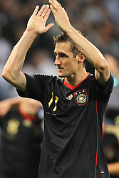 03.07.2010, CAPE TOWN, SOUTH AFRICA,   Miroslav Klose of Germany thanks the fans after Germany beat Argentina 4-0 to reach the semi finals during the Quarter Final Match 59 of the 2010 FIFA World Cup, Argentina vs Germany held at the Cape Town Stadium EXPA Pictures © 2010, PhotoCredit: EXPA/ nph/  Kokenge