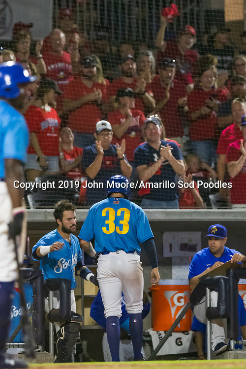 Amarillo Sod Poodles pitcher Lake Bachar (33) receives a standing ovation against the Tulsa Drillers during the Texas League Championship on Tuesday, Sept. 10, 2019, at HODGETOWN in Amarillo, Texas. [Photo by John Moore/Amarillo Sod Poodles]