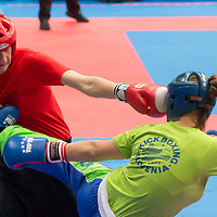 Ursa Terdin (R) of Slovenia and silver medalist Stefanie Kemper (L) of Germany fight in the 2 LC 043 S F -70 kg final at the WAKO (World Association of Kickboxing Organizations) World Kick-boxing Championships in Budapest, Hungary on Nov. 10, 2017. ATTILA VOLGYI