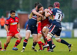 Bristol Rugby Inside Centre Ben Mosses is tackled - Mandatory byline: Rogan Thomson/JMP - 18/05/2016 - RUGBY UNION - Castle Park - Doncaster, England - Doncaster Knights v Bristol Rugby - Greene King IPA Championship Play Off FINAL 1st Leg.