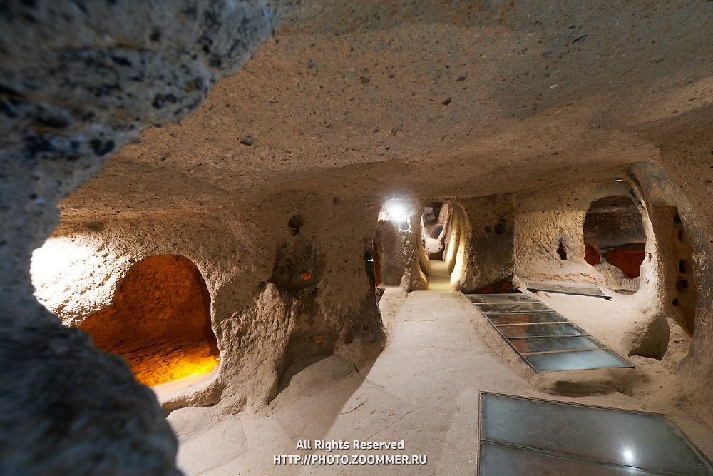 Corridors of the ancient cave house in Kaymakli underground city in Cappadocia