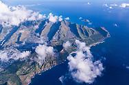 Aerial photograph of Koko Crater & coastline of East Honolulu, Oahu, Hawaii