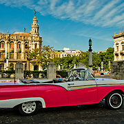 Antique and historic American cars are common sights in Central Havana, Habana Centro, Havana Centro, Cuba.