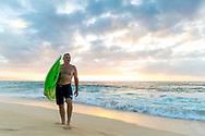 Big wave surfer Garrett McNamara on the north shore of Oahu, HI