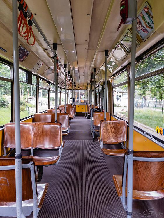 Interior of an empty high-floor tram on the Number 1 line, Prater Park, Vienna, Austria