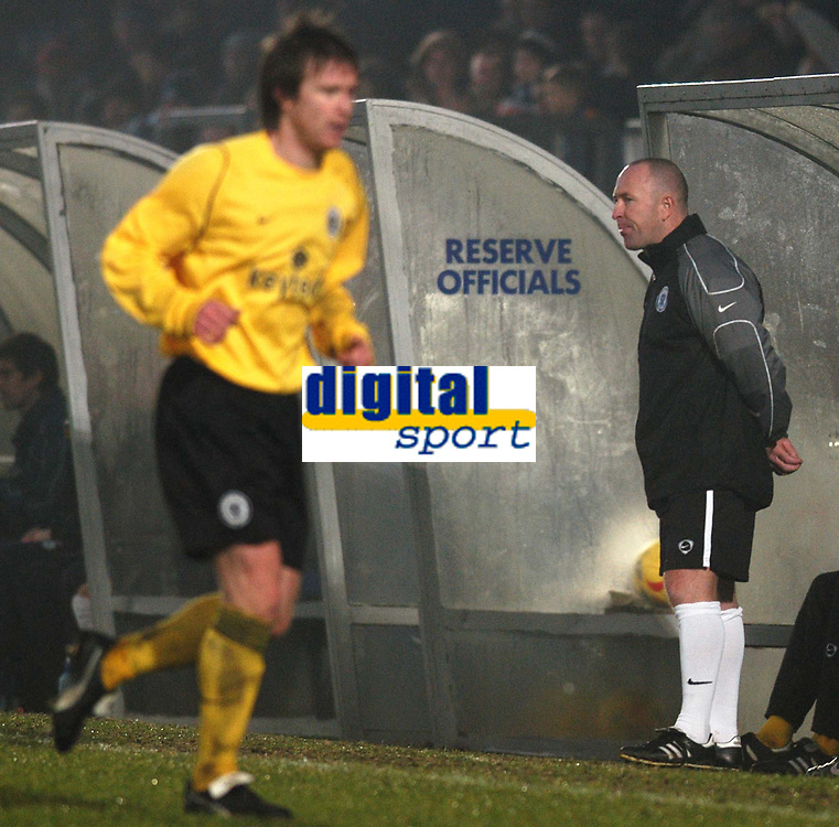Photo: Alan Crowhurst.<br />Wycombe Wanderers v Rochdale. Coca Cola League 2.<br />10/12/2005. <br />Warren Goodhind (L) is sent off as his coach Steve Parkin totally ignores him.