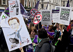 © under license to London News Pictures. 26/03/2011.  Hundreds of thousands of people take to the streets of London to protest against the Coalition Government cuts. Organised by the TUC the 'March for the Alternative' is the largest in London since the anti Iraq war protests. Photo credit should read Julie Edwards/LNP.