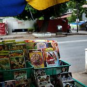 May 19, 2013 - Yangon, Myanmar: A street stall, in central Yangon, sells Myanmar's anti-Muslim movement 969 propaganda DVDs. CREDIT: Paulo Nunes dos Santos