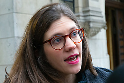 Georgina Wight from the Institute for Government speaks about the Brexit debate taking place across the street in the Houses of Parliament . London, January 15 2019.