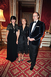 Left to right, SHARLEEN SPITERI, HRH PRINCESS JULIE OF LUXEMBOURG and HRH PRINCE ROBERT OF LUXEMBOURG at a dinner hosted by HRH Prince Robert of Luxembourg in celebration of the 75th anniversary of the acquisition of Chateau Haut-Brion by his great-grandfather Clarence Dillon held at Lancaster House, London on 10th June 2010.