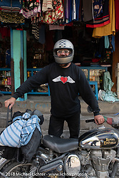Beanre (Kevin Doebler) on the main street of Tatopani starting out on Day-7 of our Himalayan Heroes adventure riding from Tatopani to Pokhara, Nepal. Monday, November 12, 2018. Photography ©2018 Michael Lichter.