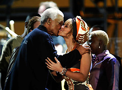 Nov 29, 2003; Cape Town, South Africa; African Peace promoter NELSON MANDELA kisses BEYONCE KNOWLES at the 46664 'Give 1 Minute of Your Life to Stop AIDS' benefit concert organized by Mandela. (Credit Image: © 378/ZBP/ZUMAPRESS.com)