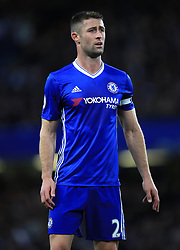 """Chelsea's Gary Cahill during the Premier League match at Stamford Bridge, London. PRESS ASSOCIATION Photo. Picture date: Monday May 8, 2017. See PA story SOCCER Chelsea. Photo credit should read: Mike Egerton/PA Wire. RESTRICTIONS: EDITORIAL USE ONLY No use with unauthorised audio, video, data, fixture lists, club/league logos or """"live"""" services. Online in-match use limited to 75 images, no video emulation. No use in betting, games or single club/league/player publications."""
