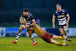 Bristol Rugby Inside Centre Ben Mosses is tackled by Scarlets XV Flanker Stuart Worrall - Mandatory byline: Rogan Thomson/JMP - 17/01/2016 - RUGBY UNION - Clifton Rugby Club - Bristol, England - Scarlets Premiership Select XV v Bristol Rugby - B&I Cup.