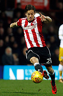 Lasse Vibe of Brentford in action. EFL Skybet football league championship match, Brentford v Sheffield Wednesday at Griffin Park in London on Saturday 30th December 2017.<br /> pic by Steffan Bowen, Andrew Orchard sports photography.