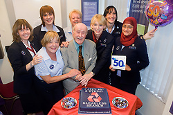 Natwest Bank Gleadless branch 50th Birthday 15th October 2010 .Banks oldest customer 96 year old Douglas Higgins with NatWest Staff from left to right Kathy Throssell, Pam Bartrop, Laura Nicholson, Jill Smith, Alison Hobson, Louise Ironmonger and Sakira Baris.Images © Paul David Drabble